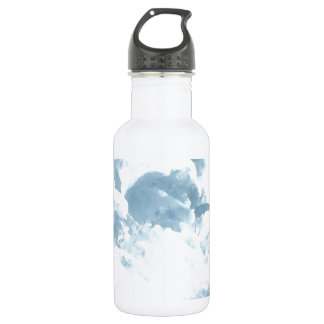 At the Edge of the Sea Blue Sky Clouds Ocean Art Stainless Steel Water Bottle