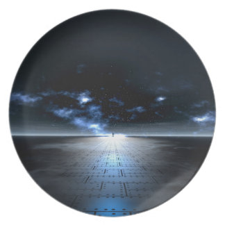 at the edge of time melamine plate