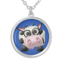 At the Farm Cow Silver Plated Necklace