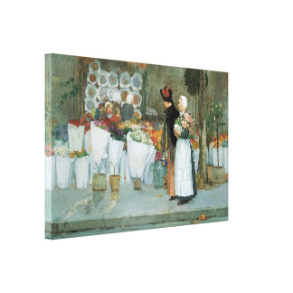 At the Florist by Hassam Vintage Impressionism Art Canvas Print