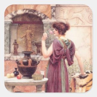 At the Garden Shrine, Pompeii by John Godward Square Sticker