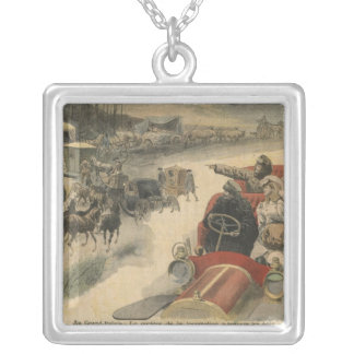 At the Grand Palais history of locomotion Silver Plated Necklace