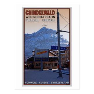 At the Grindelwald Train Station Postcard