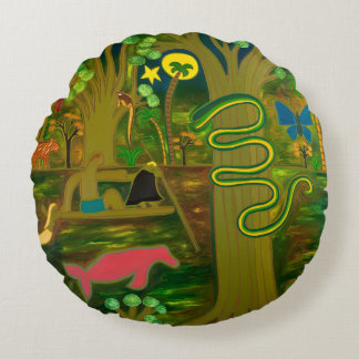 At the Heart of the Amazon River 2010 Round Pillow