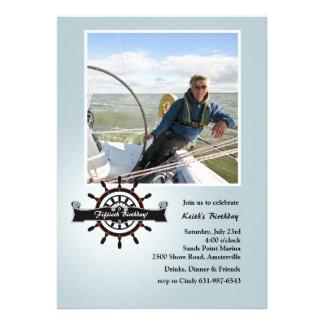 At the Helm Nautical Photo Invitation