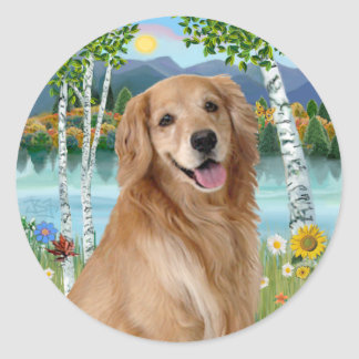 At the Lake - Golden Retriever Round Stickers