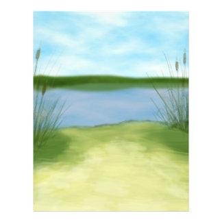 at the lake pretty landscape design flyer
