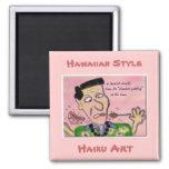 """At the Luau"" Hawaiian Style Haiku Art Magnet"