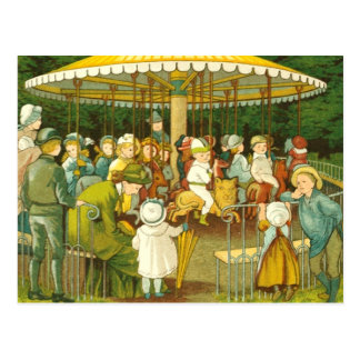 At The Merry Go Round Postcard