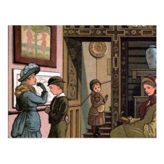 """At the Museum"" Vintage Illustration Postcard"