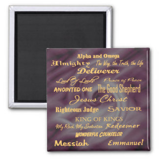 at the name of Jesus... 2 Inch Square Magnet