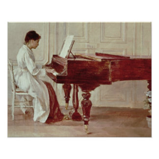 At the Piano, 1887 (oil on canvas) Poster