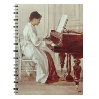 At the Piano, 1887 (oil on canvas) Spiral Notebook
