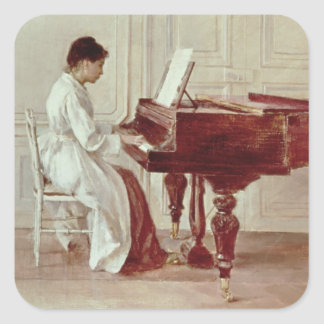 At the Piano, 1887 (oil on canvas) Square Sticker