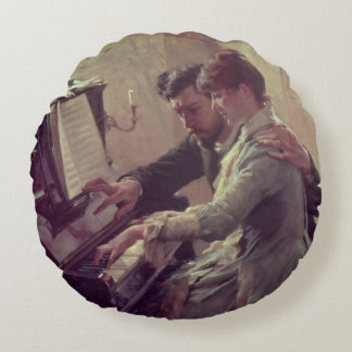 At the Piano Round Pillow