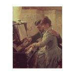 At the Piano Wood Print