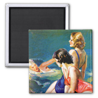 At the Pool 2 Inch Square Magnet