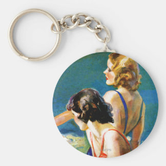 At the Pool Basic Round Button Keychain