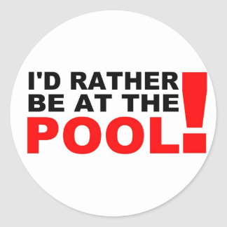 At the pool classic round sticker