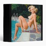 At the pool sexy blonde retro pinup girl 3 ring binder