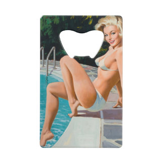 At the pool sexy blonde retro pinup girl credit card bottle opener