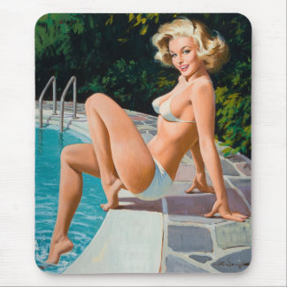 At the pool sexy blonde retro pinup girl mouse pad