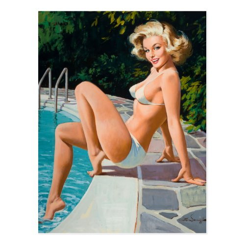At the pool sexy blonde retro pinup girl postcard
