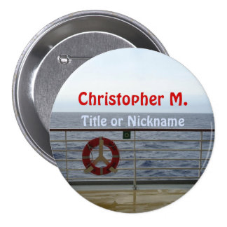 At the Railing Name Badge Pinback Button
