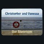 "At the Railing Stateroom Door Marker Magnet<br><div class=""desc"">View from the deck of a cruise ship of and beyond the railing. Standing at the railing, watching the waves, and gazing out to sea ... Cruise Ships keep getting bigger and bigger. The hallways with longer and longer rows of cabin doors that all look alike.! Mark the door of...</div>"