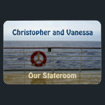 """At the Railing Stateroom Door Marker Magnet<br><div class=""""desc"""">View from the deck of a cruise ship of and beyond the railing. Standing at the railing, watching the waves, and gazing out to sea ... Cruise Ships keep getting bigger and bigger. The hallways with longer and longer rows of cabin doors that all look alike.! Mark the door of...</div>"""
