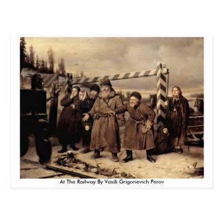 At The Railway By Vasili Grigorievich Perov Postcard