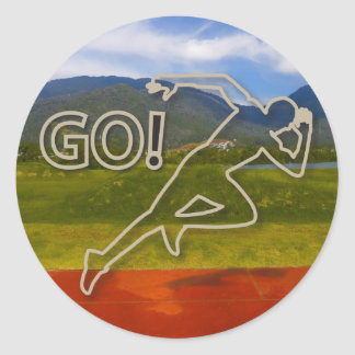 At the Running Track Classic Round Sticker