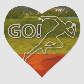 At the Running Track Heart Sticker