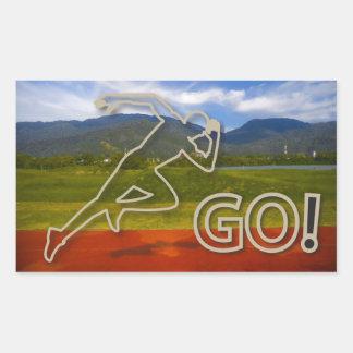 At the Running Track Rectangular Sticker