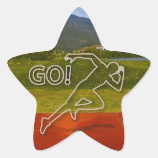 At the Running Track Star Sticker