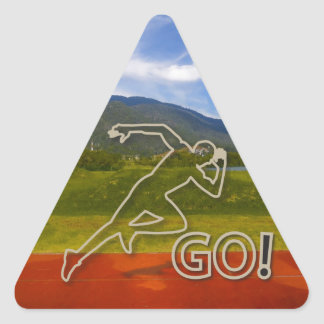 At the Running Track Triangle Sticker