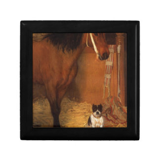At the Stables, Horse and Dog by Edgar Degas Jewelry Box