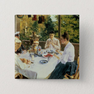 At the Tea-Table, 1888 Pinback Button