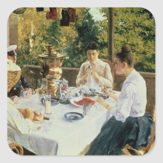 At the Tea-Table, 1888 Square Sticker