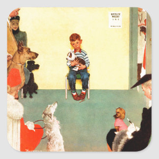 At The Vets by Norman Rockwell Square Sticker