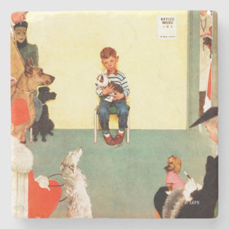 At The Vets by Norman Rockwell Stone Coaster