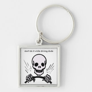 At The Wheel Silver-Colored Square Keychain