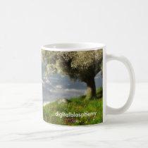 world's, edge, clouds, spring, tree, flowers, sky, digital, blasphemy, Mug with custom graphic design