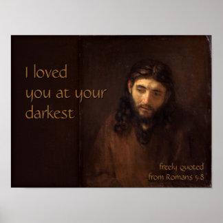 At your darkest CC0520 Rembrandt Jesus Cardstock Poster