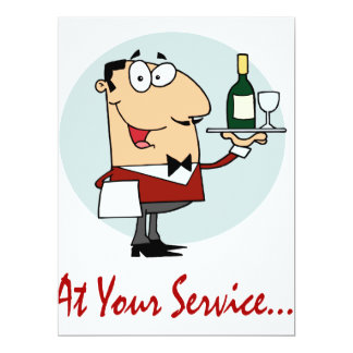 at your service funny butler character 6.5x8.75 paper invitation card
