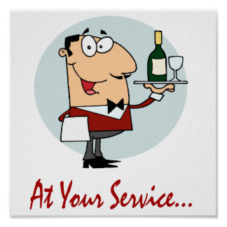 at your service funny butler character poster