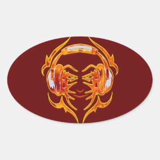 Atado con alambre para arriba para la música colcomanias oval personalizadas