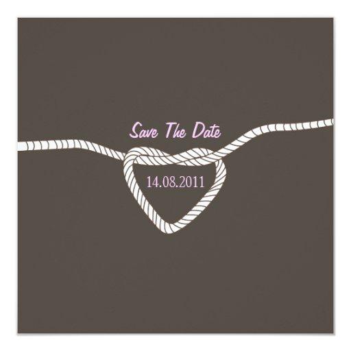 """Atando el boda del nudo ahorre la fecha - rosa invitación 5.25"""" x 5.25"""""""