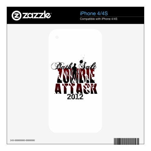 Ataque 2012 del zombi de la sal de baño calcomanías para iPhone 4