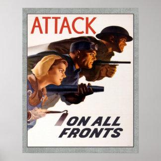 Ataque canadiense WW2 del vintage contra todos los Impresiones